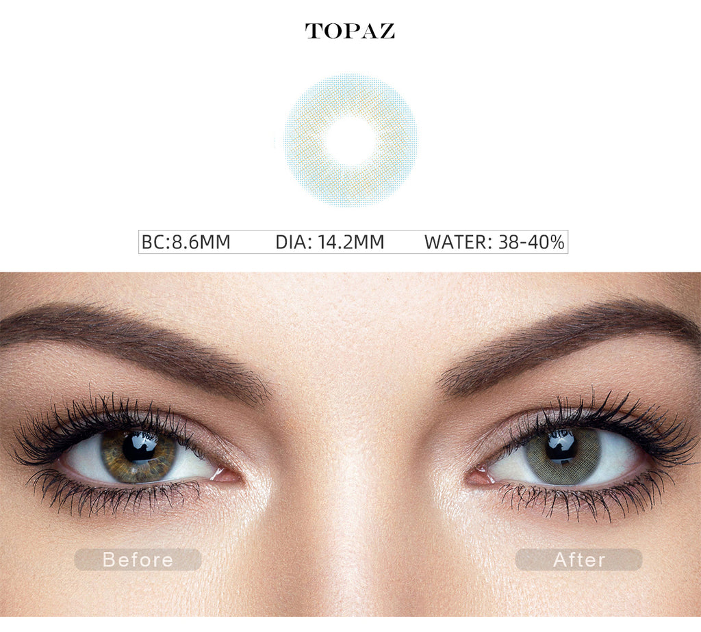 Hidrocor Topaz Blue colored contacts for dark eyes before and after