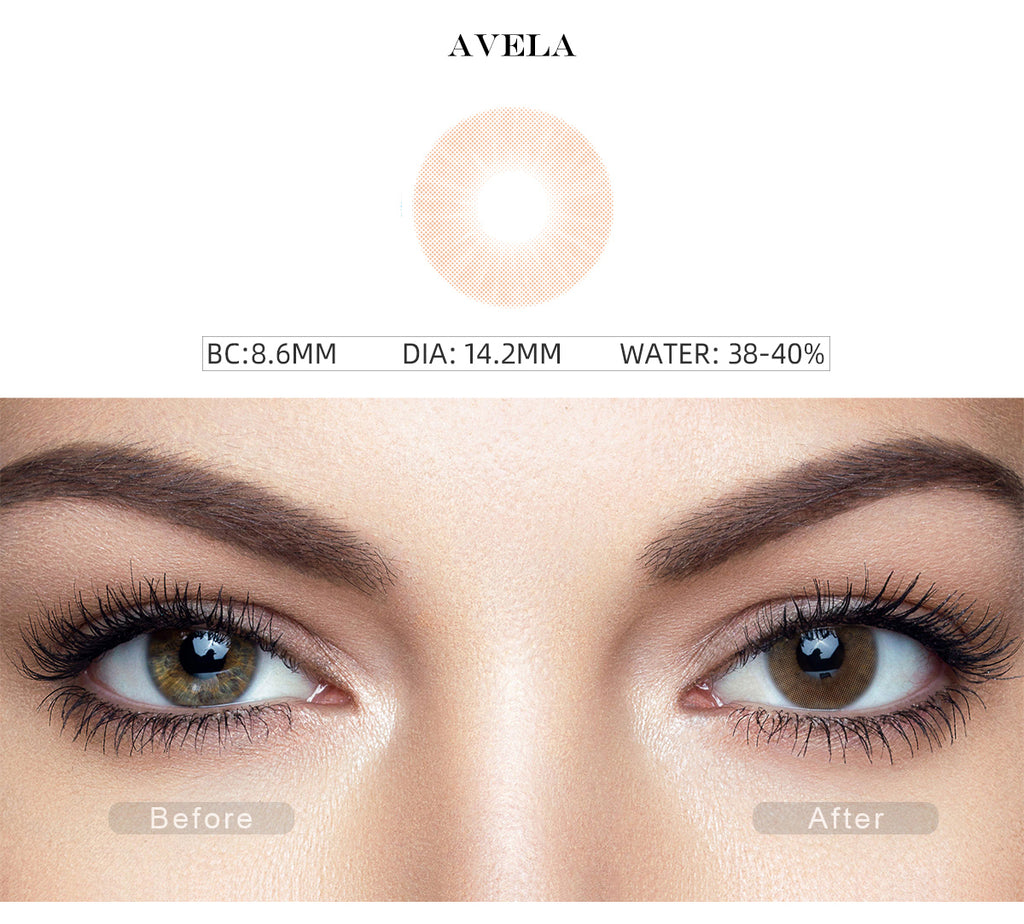 Hidrocor Avela Brown non prescription colored contacts  with before and after photo