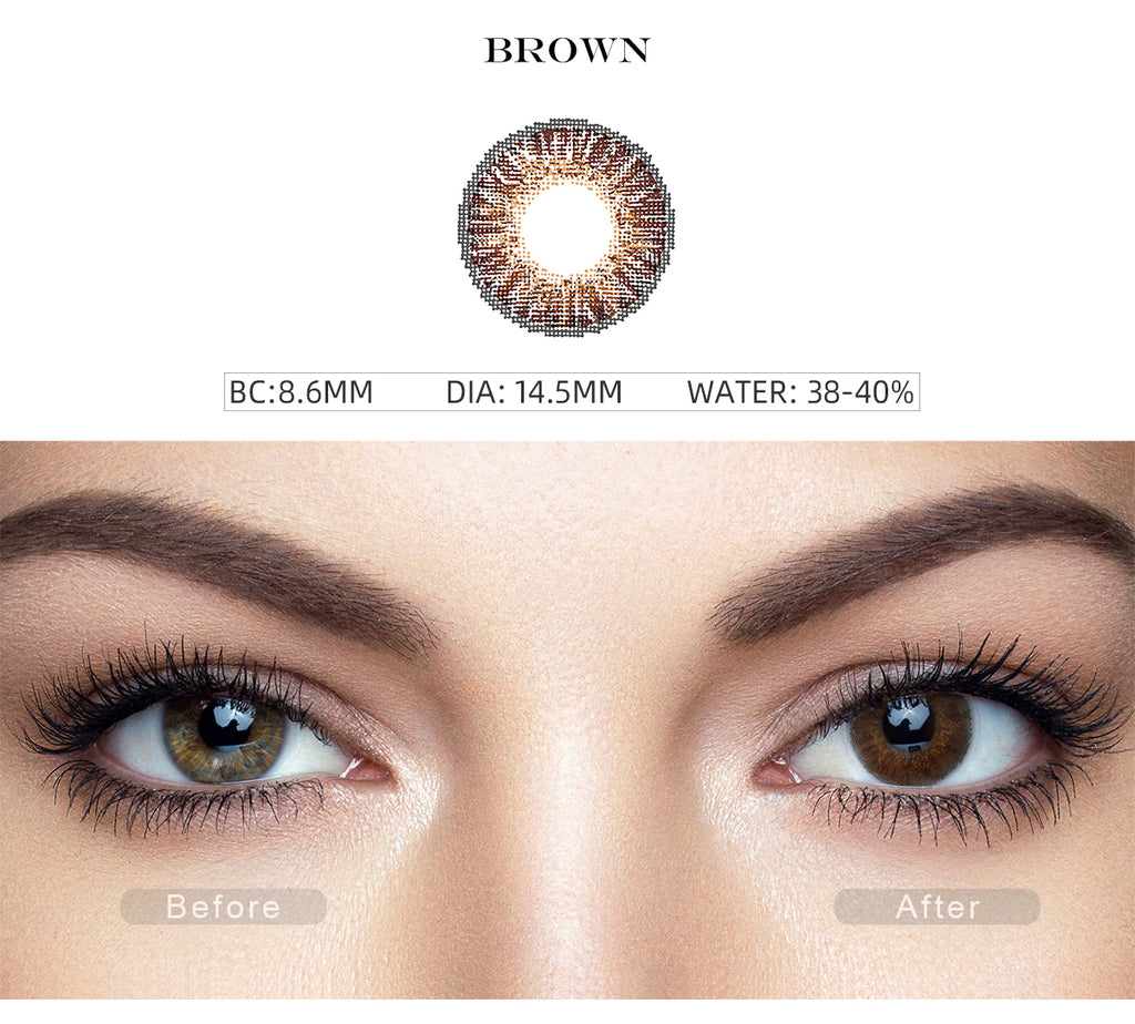 3 Tone Brown color contact lenses with before and after photo