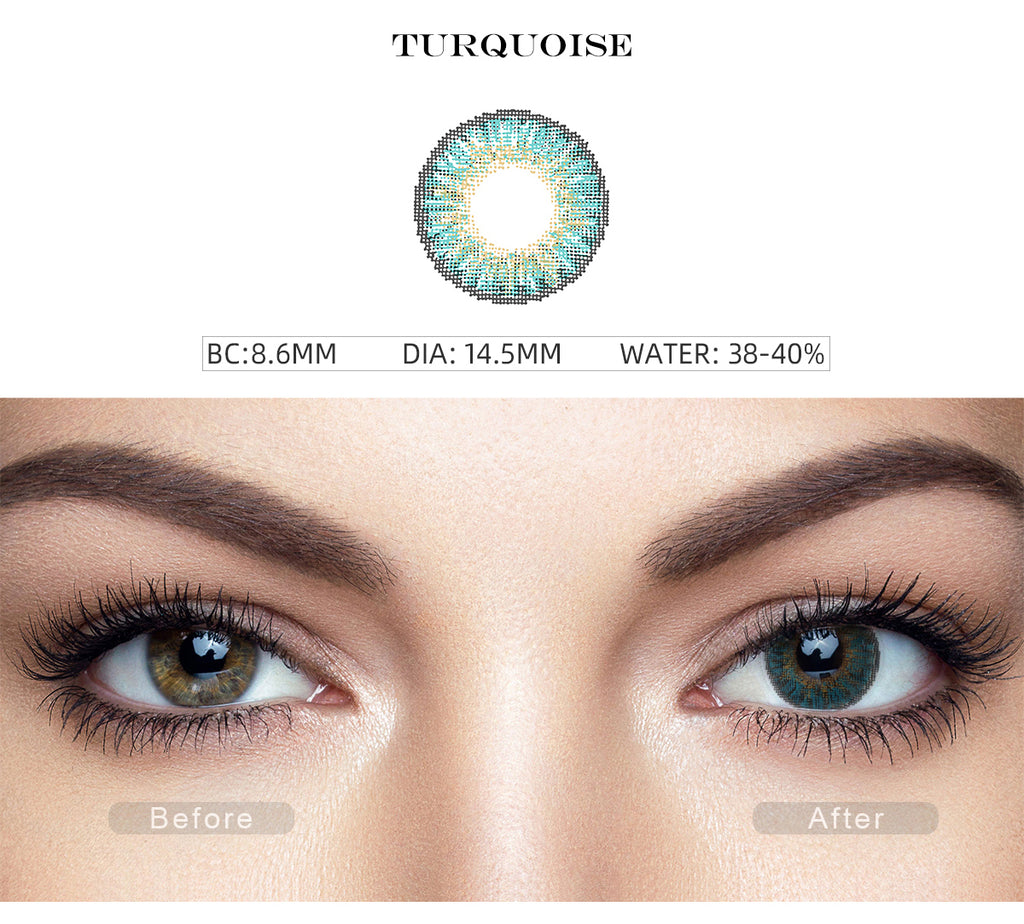 3 Tone TQ blue colored contact lenses with before and after photo
