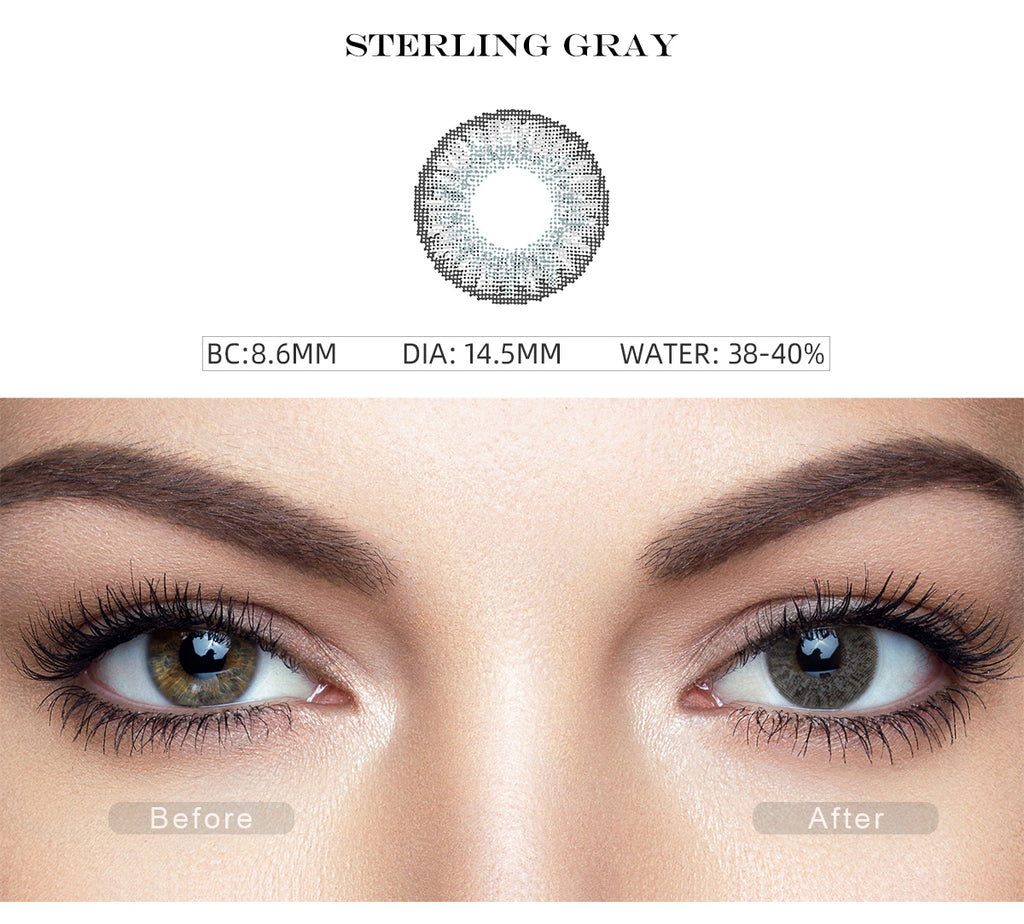3 Tone sterling gray color contact lens with before and after photo
