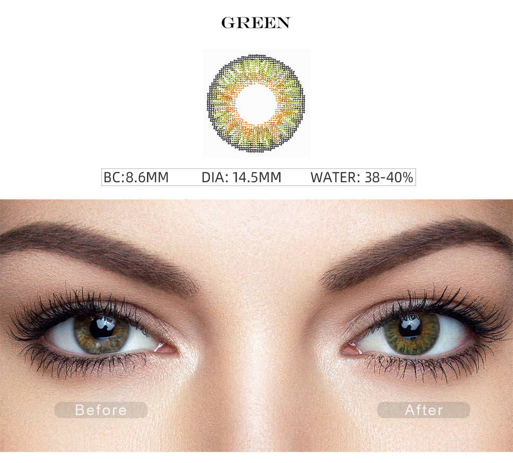 3 Tone Green contact lenses with before and after photo