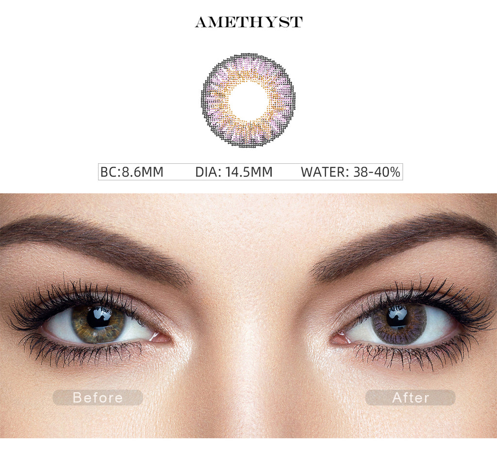 3 Tone Amethyst colored contact lenses with close shot eye effect photo