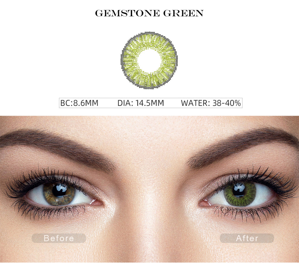 3 Tone Gemstone Green color contact lenses with before and after photo