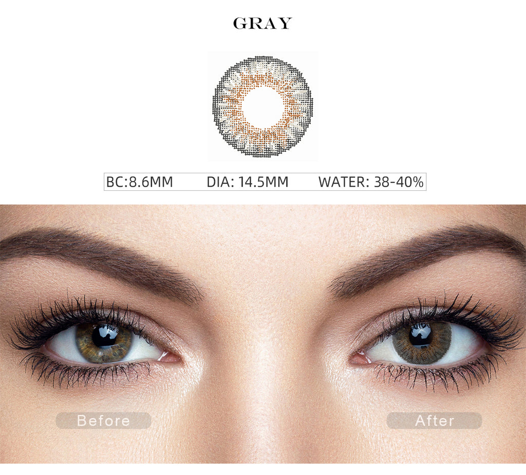 3 Tone Gray color contact lens with before and after photo