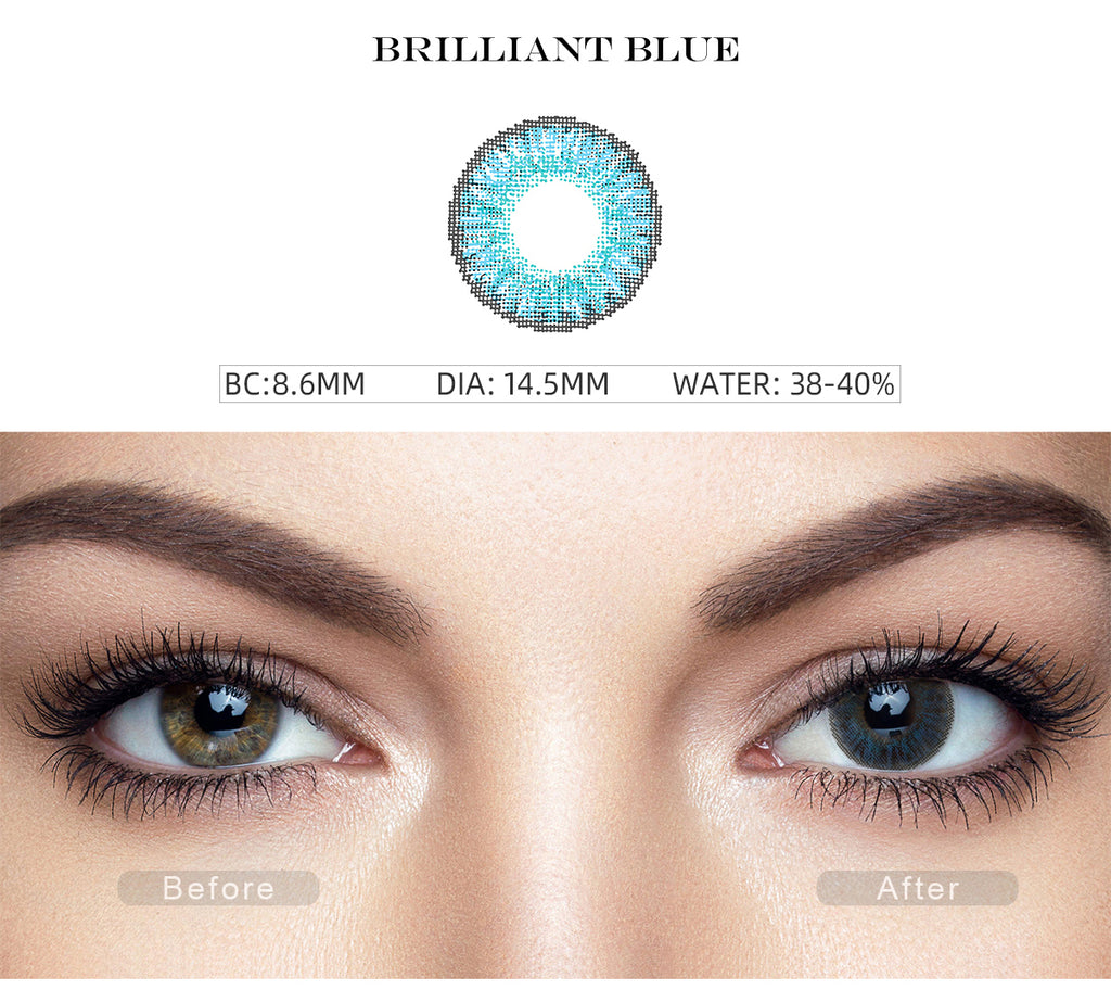 3 Tone Brilliant Blue color contact lenses with before and after photo