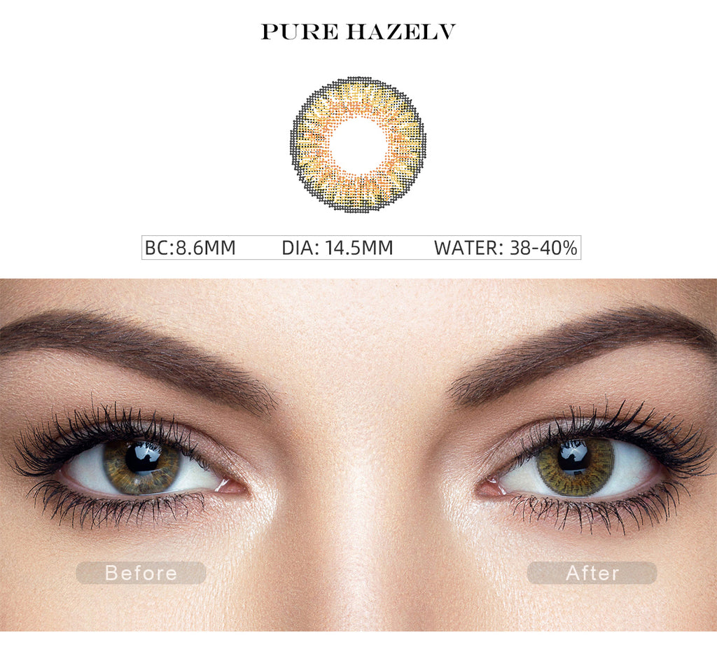 3 Tone Pure Hazel colored contacts with before and after photo