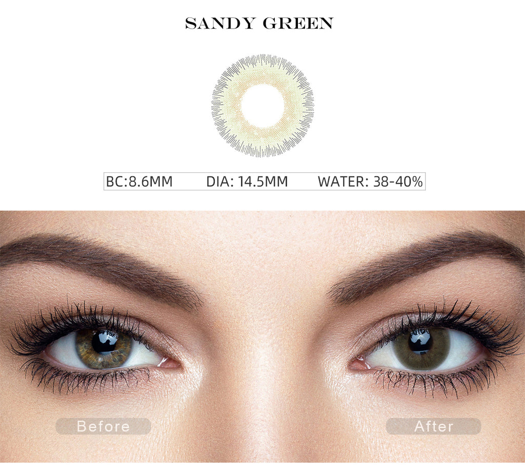 Elite Sandy Green colored contacts for dark eyes with before and after photo
