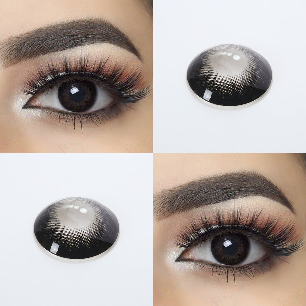 Glass Ball Black color contacts with eye effect and lens photo