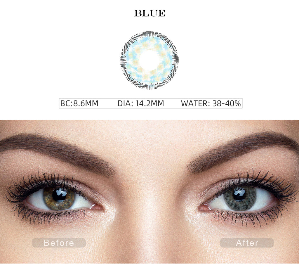 Premium Blue color contact lenses before and after