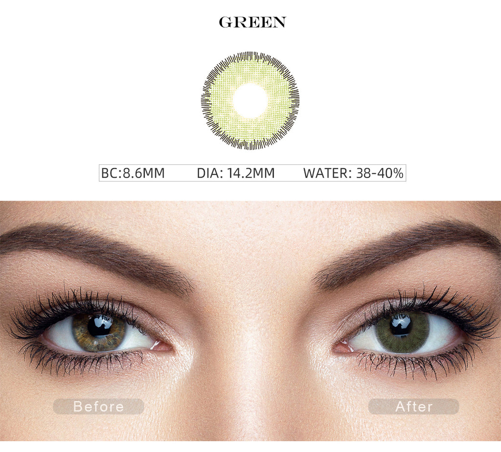 Premium Green prescription colored contacts before and after