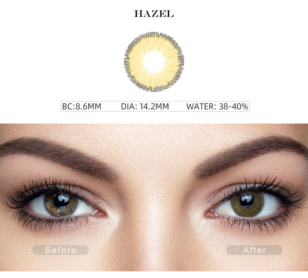 Premium Hazel prescription colored contact lenses before and after