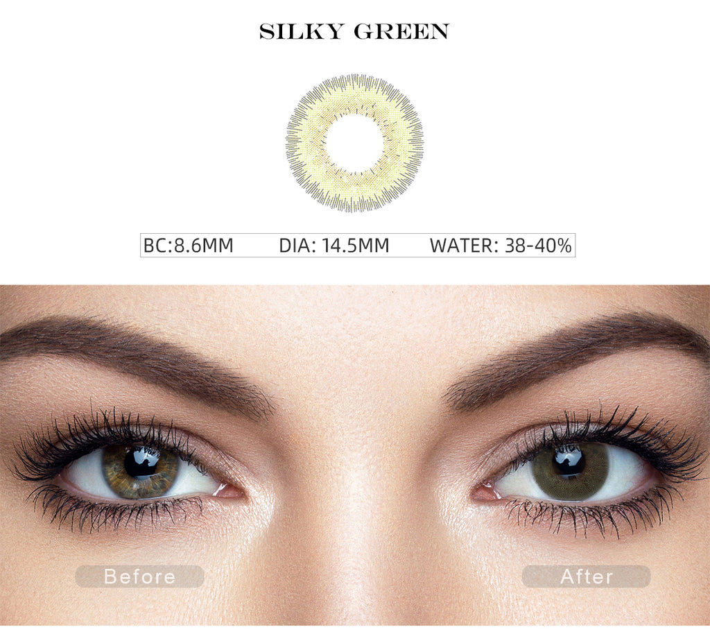 Bellalens Silky Green color contact lenses before and after