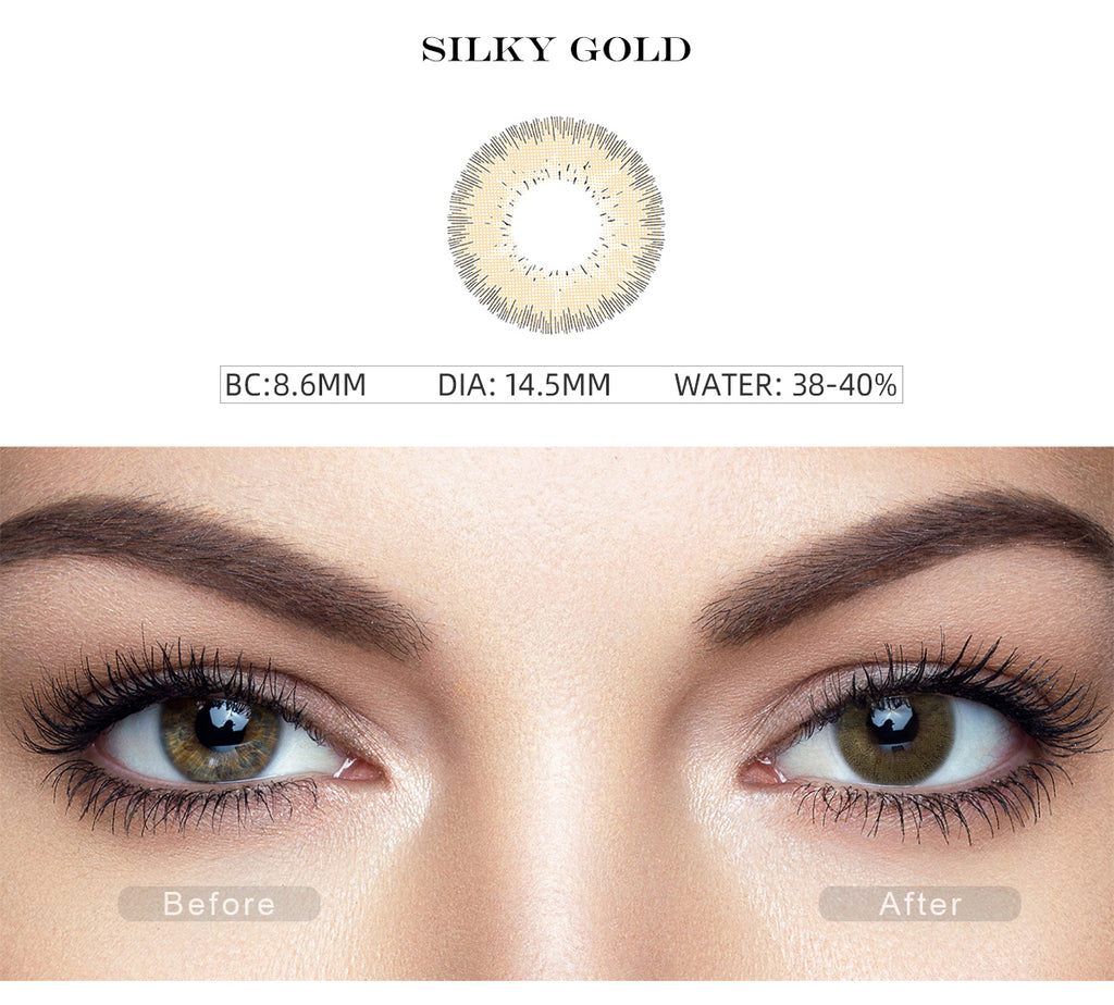 Bellalens Silky Gold non prescription colored contacts before and after