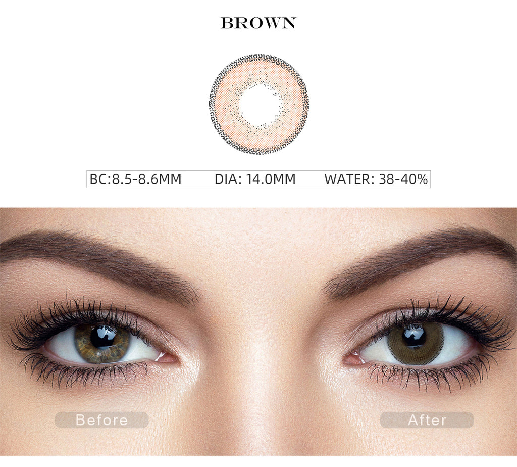 Edge Brown color contact lenses with before and after photo