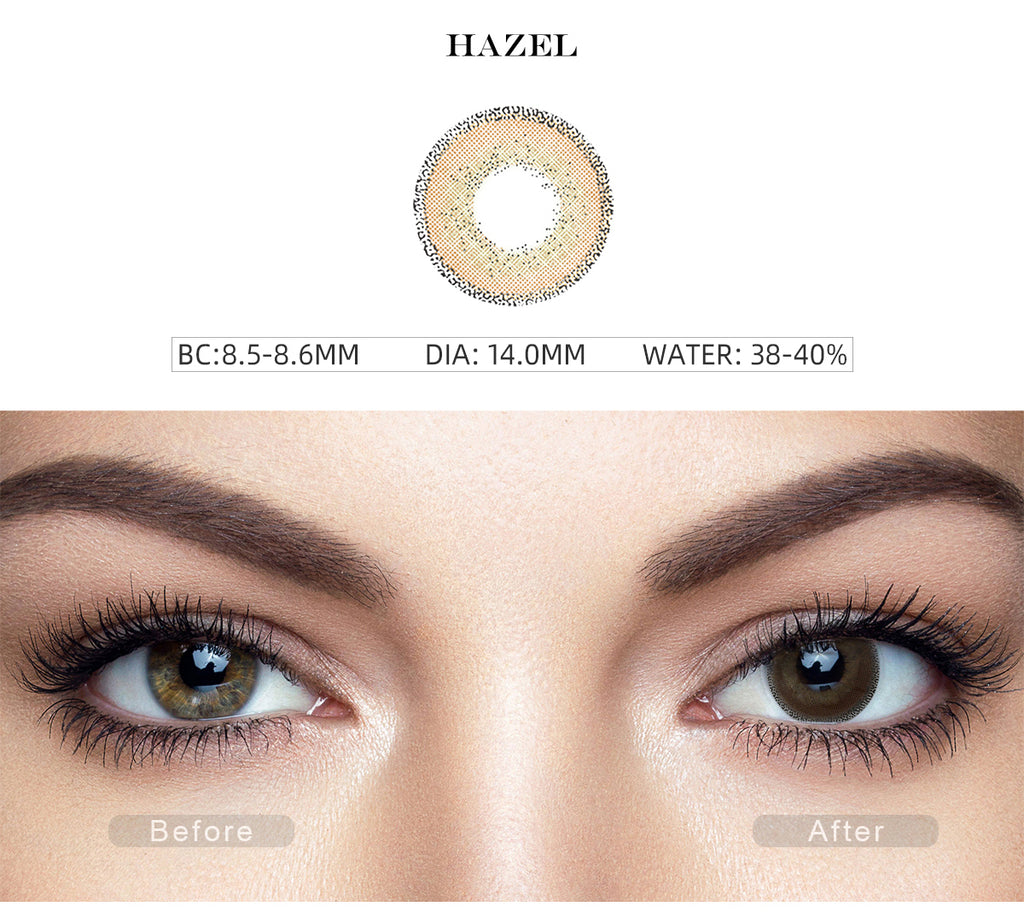 Edge Hazel contact lenses with before and after photo