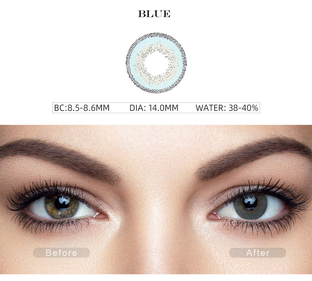 Edge Blue color contact lenses with before and after photo
