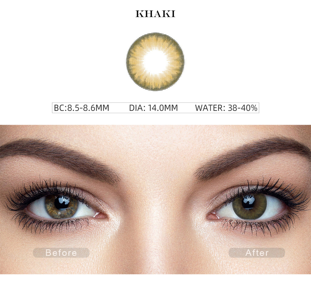 Pro Khaki Brown colored contacts with before and after photo