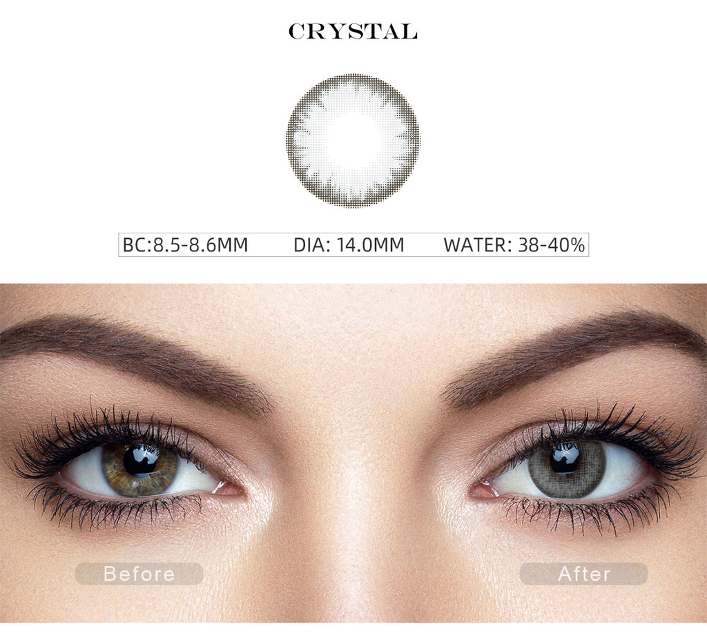 Pro Crystal Gray colored contact lenses with before and after photo