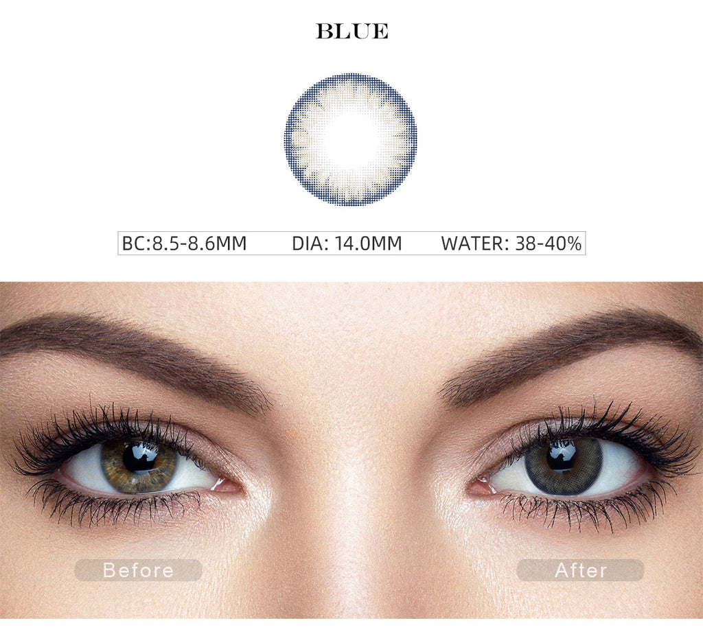 Pro Blue color contact lenses with before and after photo