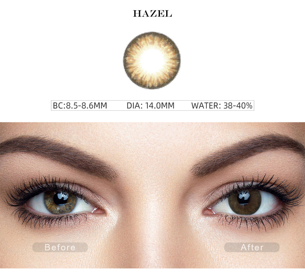 Pro Hazel color contact lenses with before and after photo