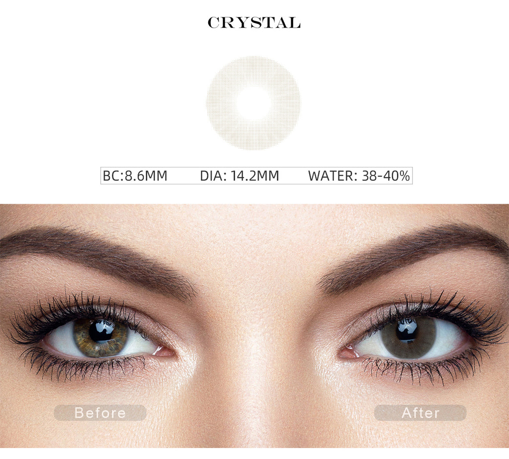 Hidrocor II Crystal Gray colored contact lenses with before and after photo