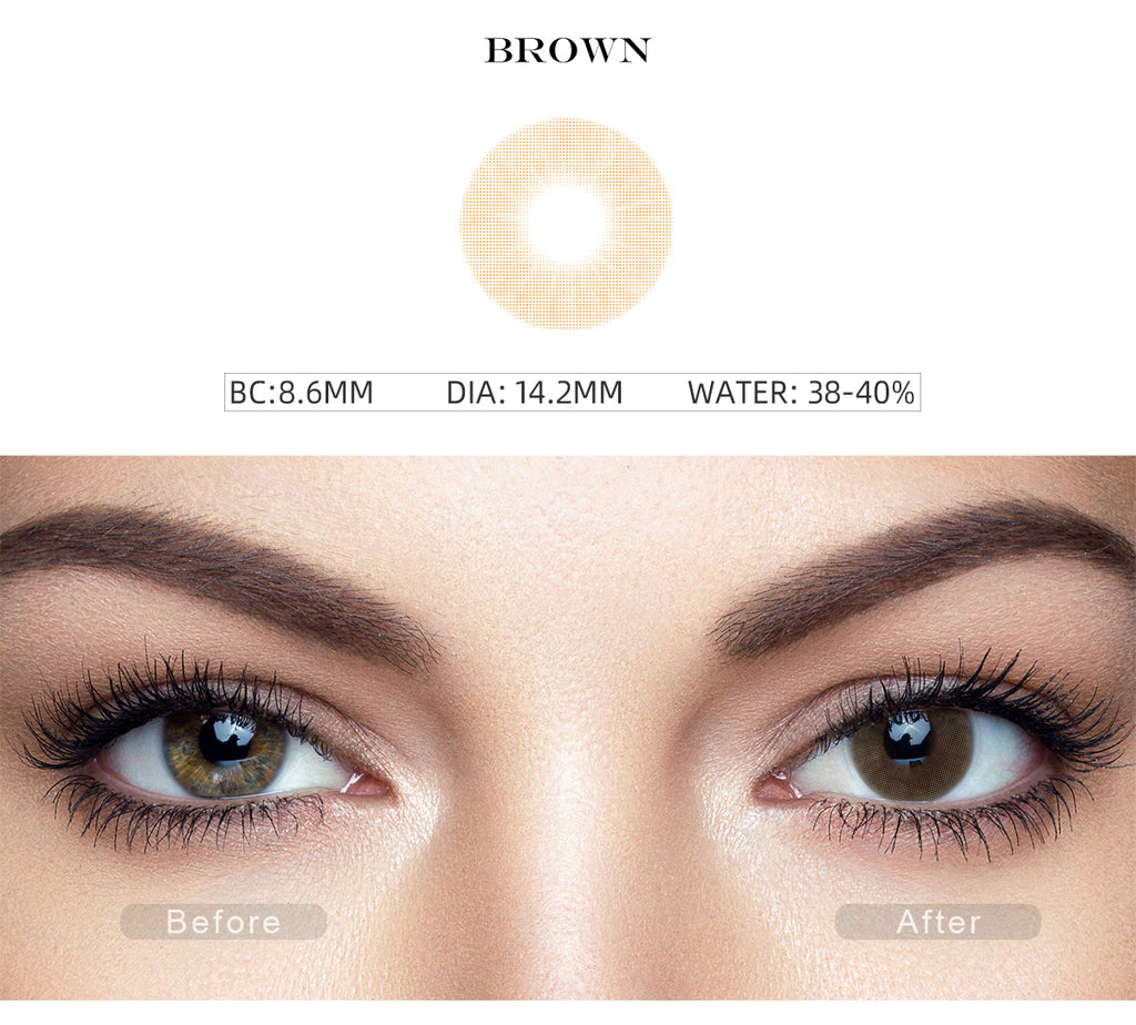 Hidrocor II Honey Brown color contact lenses with before and after photo