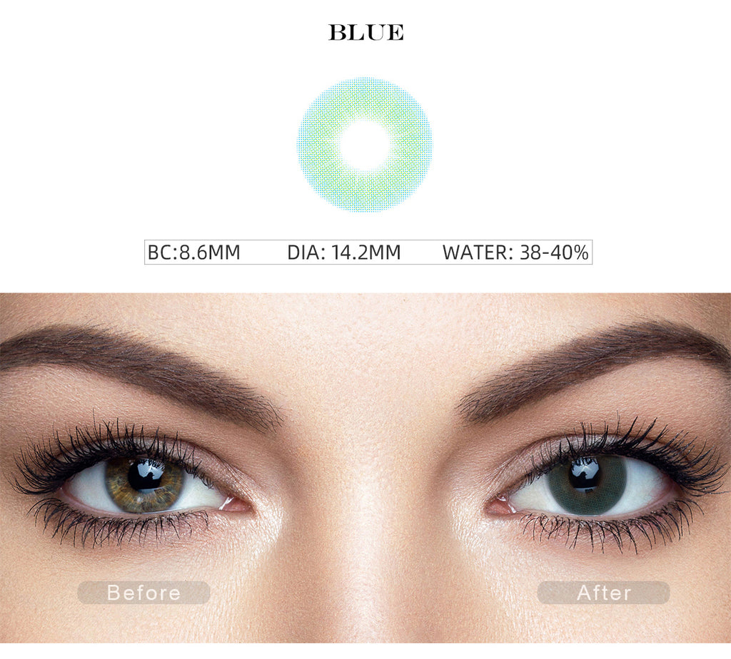 Hidrocor II Sky Blue contact lenses color with before and after photo
