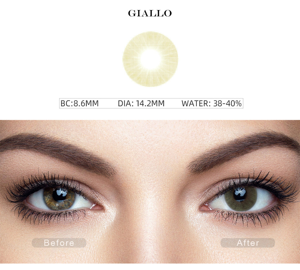 Hidrocor II Giallo Yellow colored eye contacts with before and after photo
