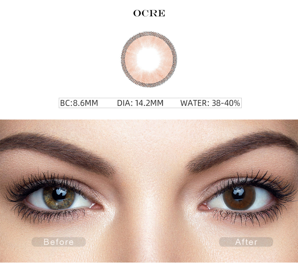 Hidrocharme Ocre Brown color contact lenses with before and after photo