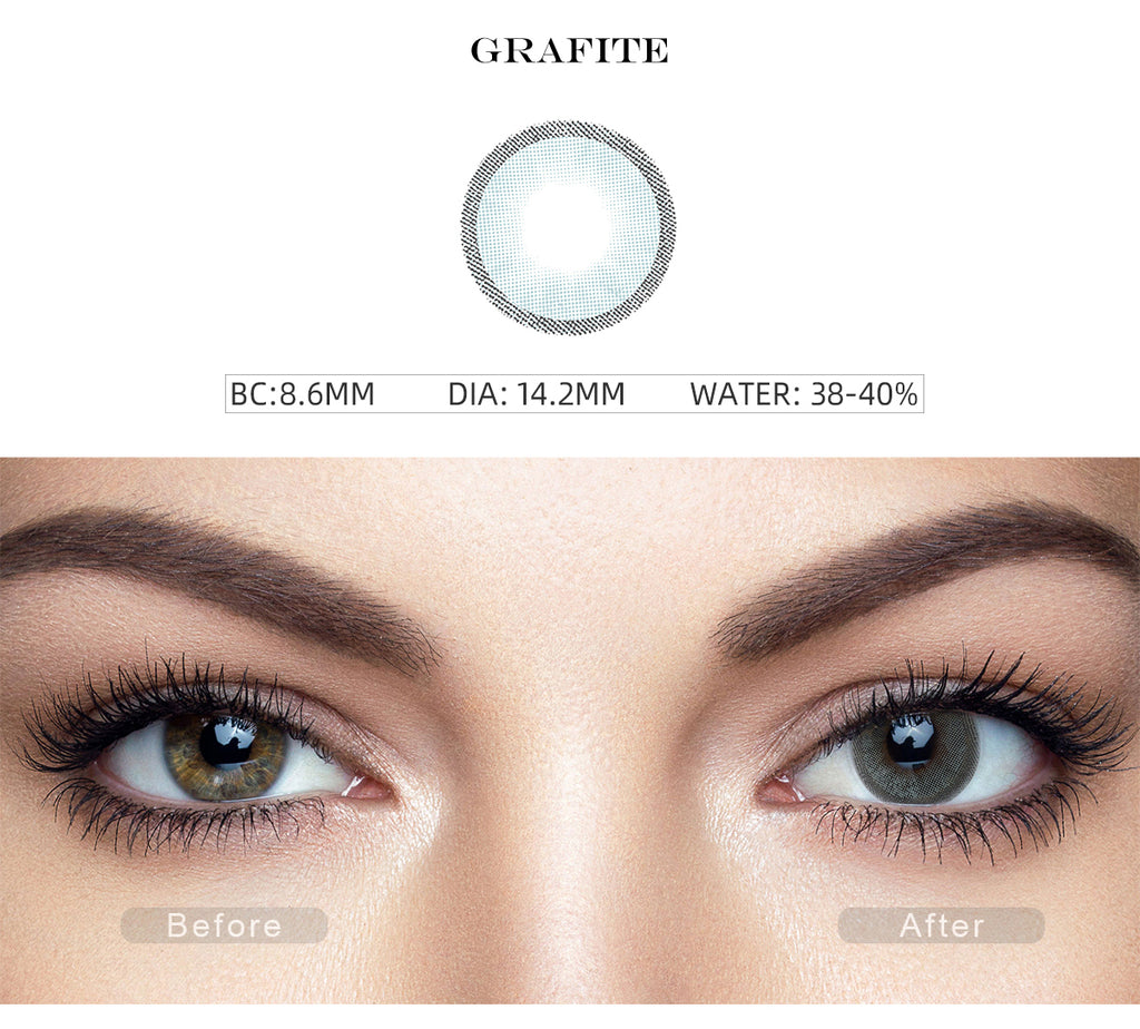 Hidrocharme Grafite Gray color contact lenses with before and after photo