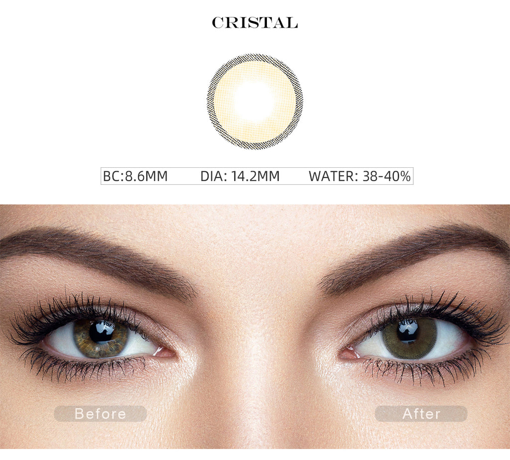 Hidrocharme Cristal Yellow color contact lenses with before and after photo