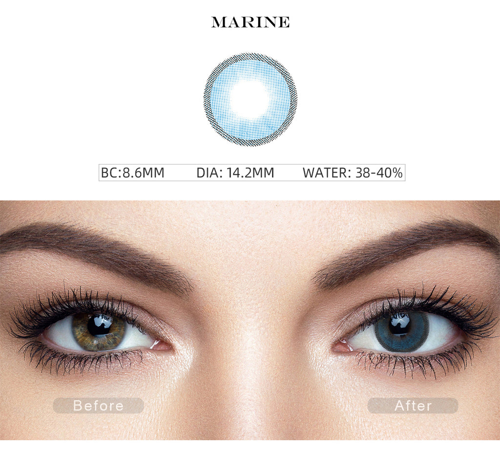 Hidrocharme Marine Blue costume contact lenses with before and after photo