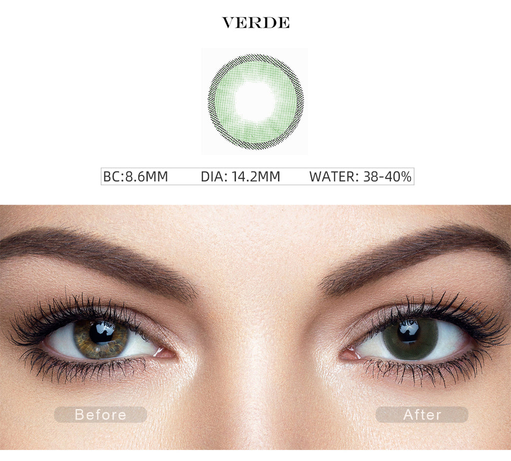 Hidrocharme Verde Green non prescription colored contacts with before and after photo
