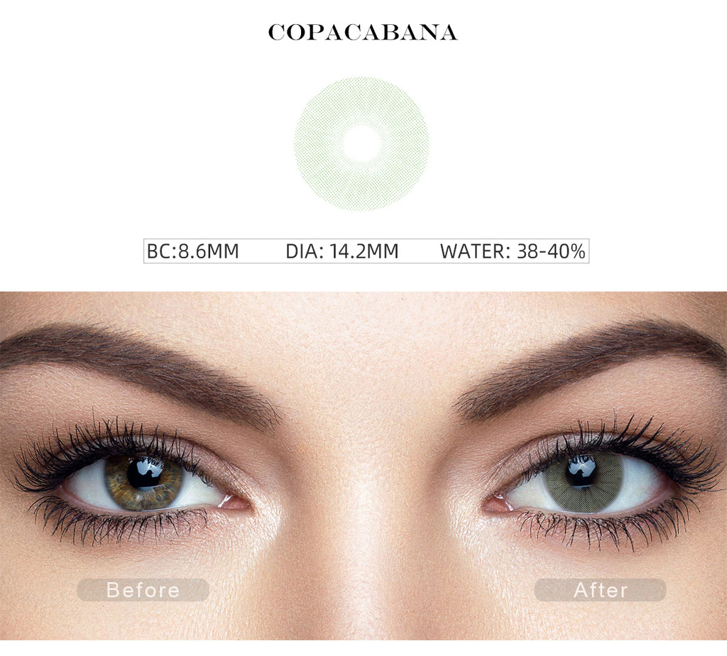 Rio Copacabana colored contacts with before and after photo