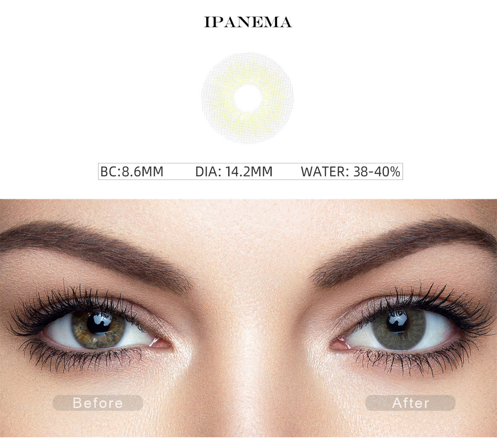 Rio Ipanema non prescription colored contacts with before and after photo
