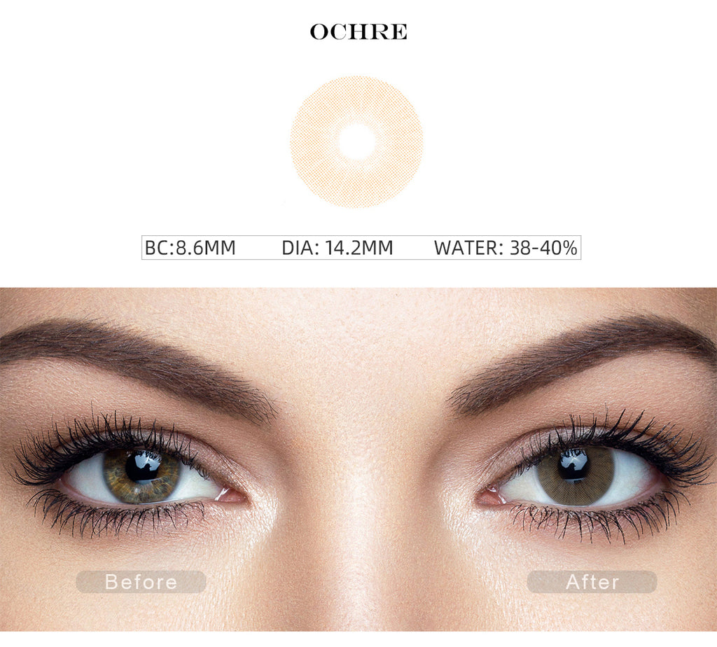 Rio Ochre colored contacts for brown eyes with before and after photo