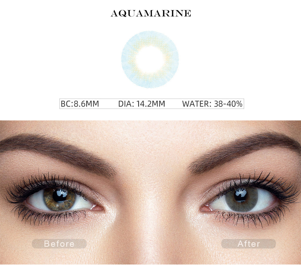 Fancy Aquamarine Blue colored contacts with before and after photo