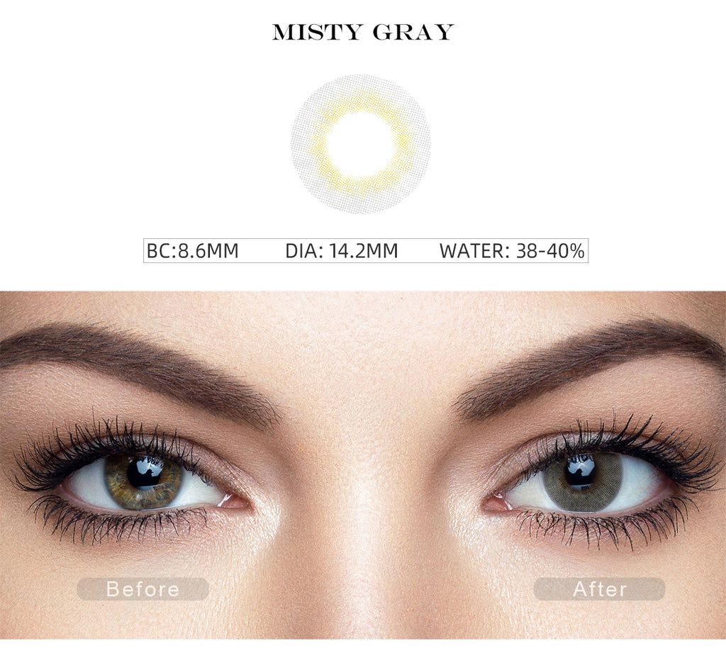 Fancy Misty Gray colored contact lenses with before and after photo