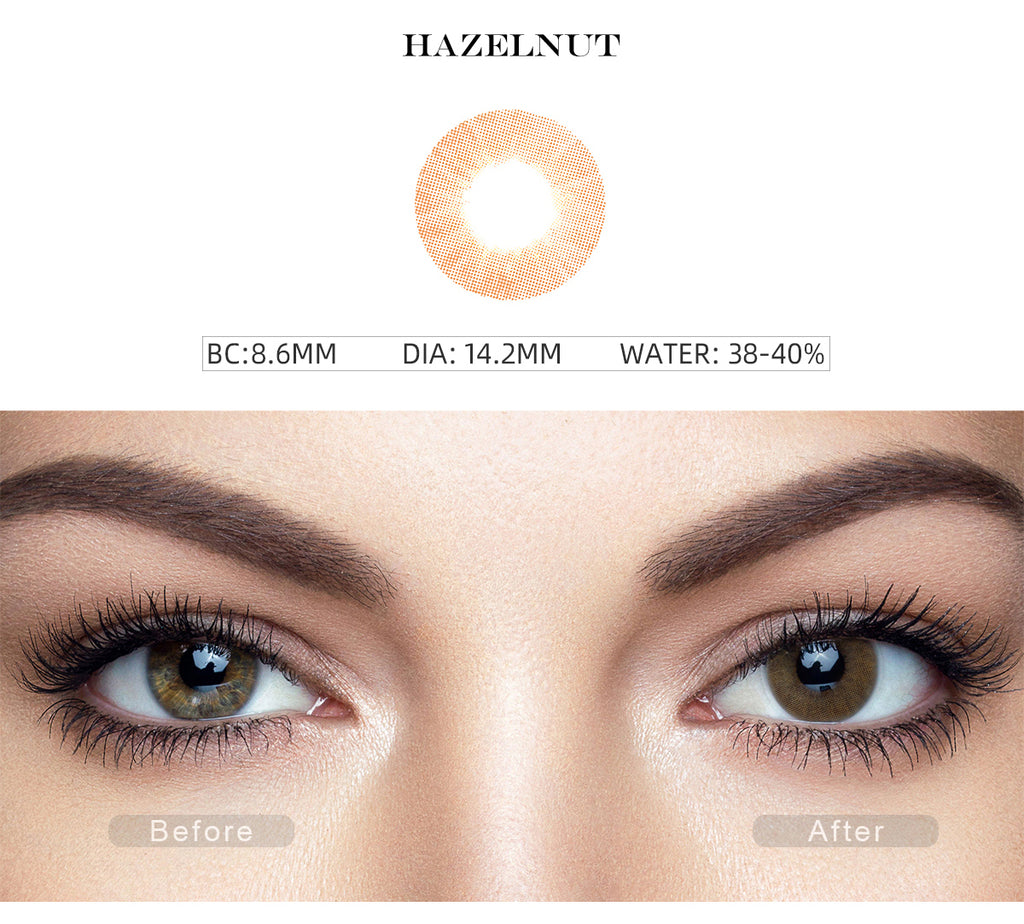 Fancy Hazelnut Brown color contact lenses with before and after photo