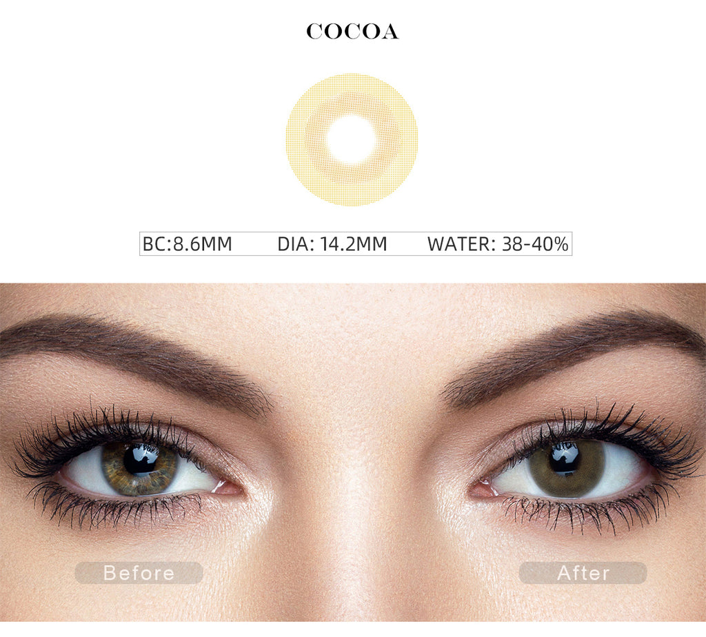 Fancy Cocoa Yellow costume contact lenses with before and after photo