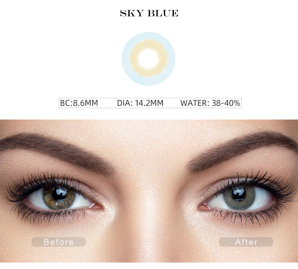 Fancy Sky Blue non prescription colored contacts with before and after photo