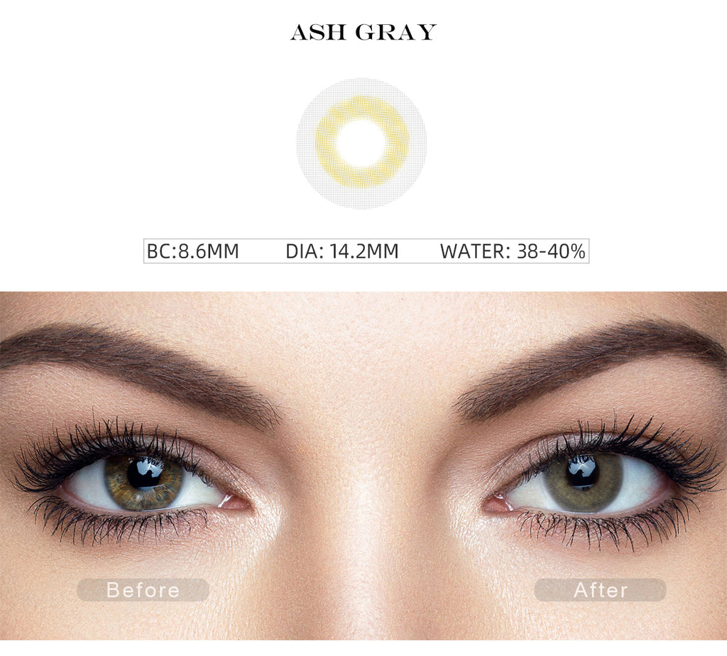 Fancy Ash Gray colored eye contacts with before and after photo