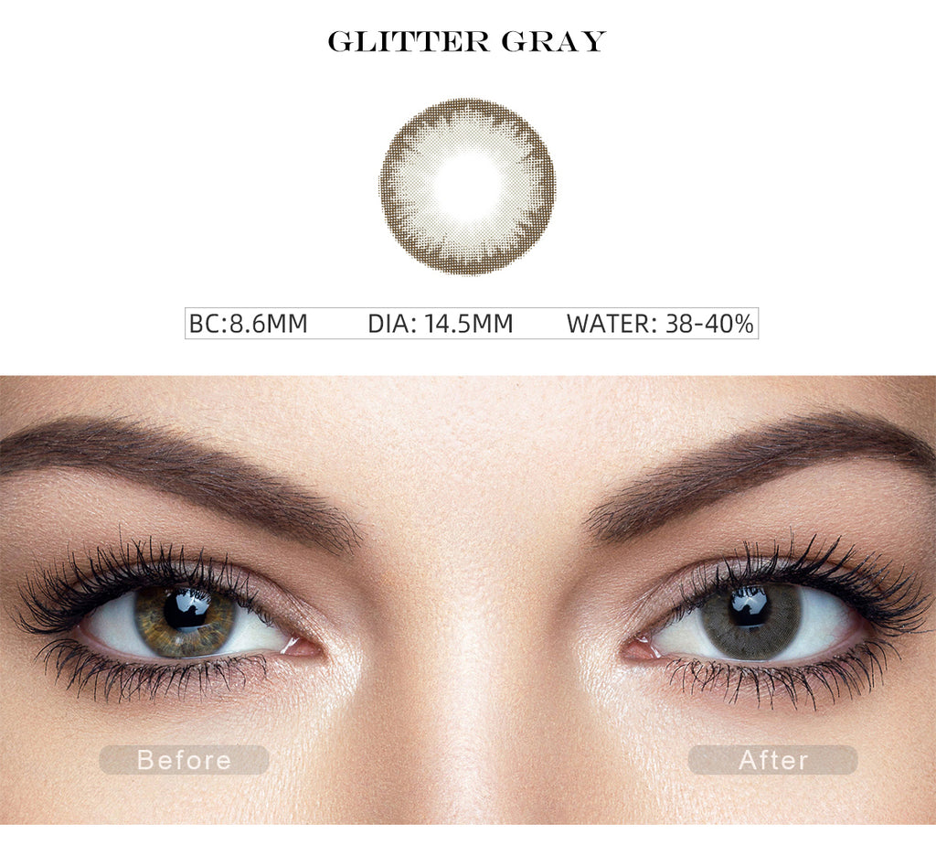 Diamond Glitter Gray colored contacts with before and after photo