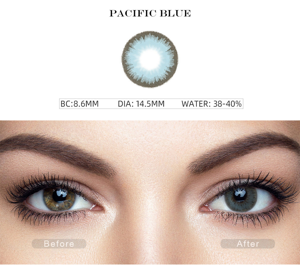 Diamond Pacific Blue colored contact lenses with before and after photo