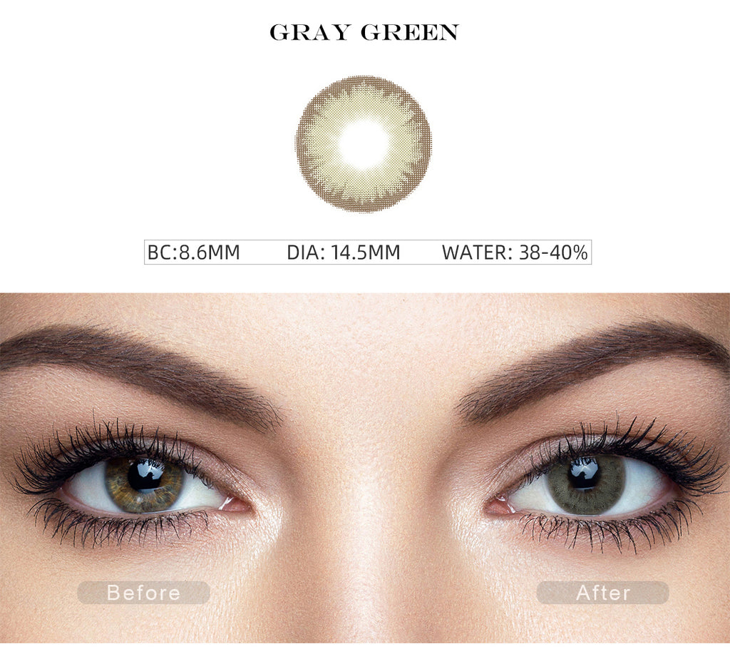 Diamond Gray Green color contact lenses with before and after photo