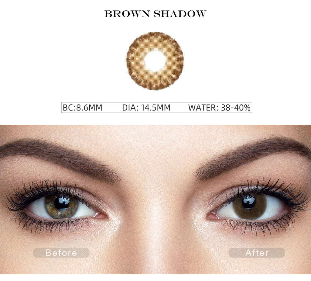 Diamond Brown Shadow color contact lenses with before and after photo