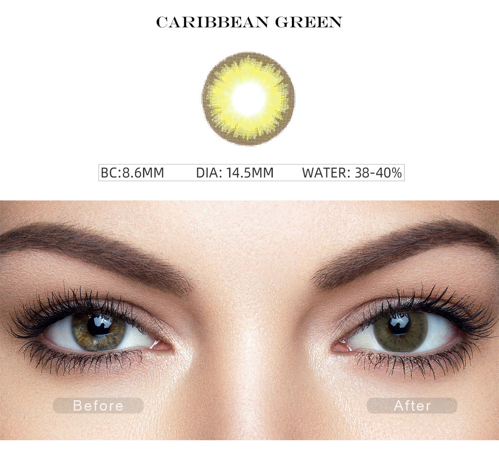 Diamond Caribbean Green colored eye contacts with before and after photo