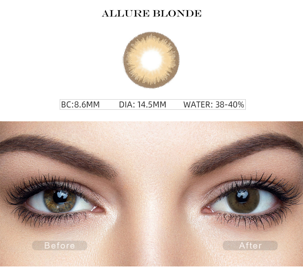 Diamond Allure Blonde natural colored contacts with before and after photo