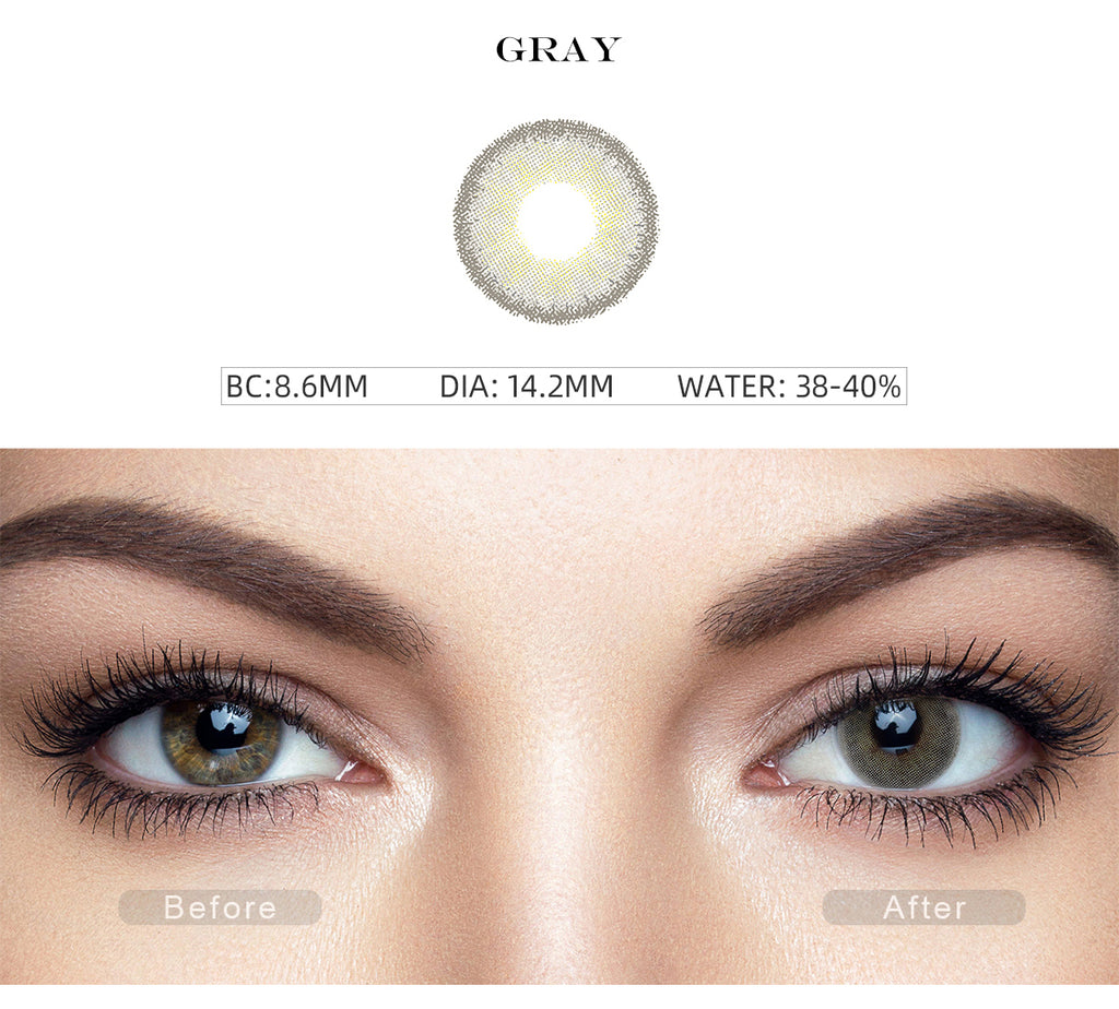Premium Candy Gray colored contacts with before and after photo